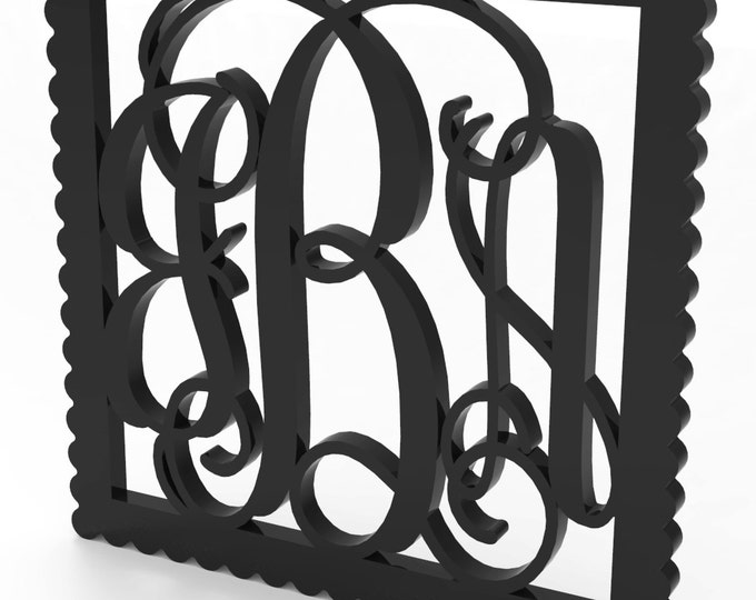 "3 Letter Monogram Door or Wall Hanger wall letters w Square Sculpted Wood Frame 18"" tall Custom Made."