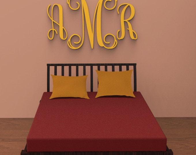 """3 Letter Vine Monogram Wall Hanging, 36"""" tall Custom Made and finished in your choice of color."""