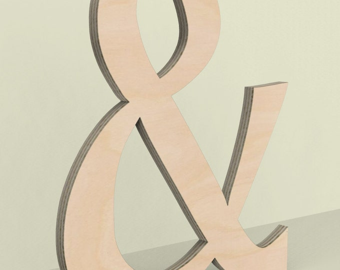 """Ampersand & Wood Door or Wall Hanger 18"""" tall Custom Made Unfinished Ready for Painting."""