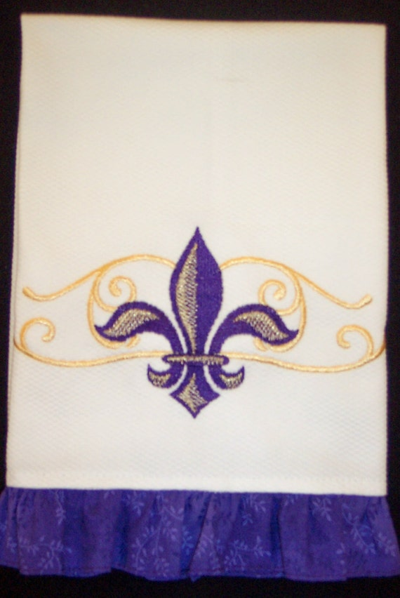 Hand Towel With Elegant Purple And Gold Fleur De Lis Scroll Etsy