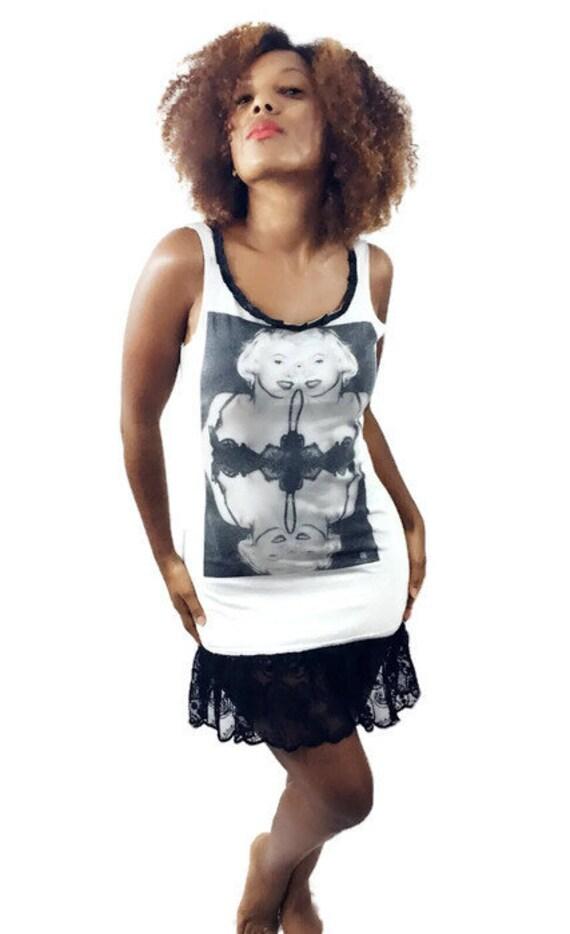 569361021b Marilyn Monroe grey mini Tee Dress with paisley Lace at hem