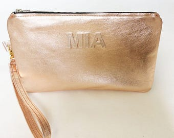 Personalised Minimalist Rose Gold Crush Leather Wristlet Clutch Modern Purse iPad Mini Wedding Casual Evening Clutch Pouch Bag Mothers Day