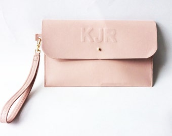 Bridal Clutch Personalised Leather Embossed Nude Beige Blush Leather Minimal Custom Purse Pouch Wedding Bridesmaid Mothers Day Evening Bag