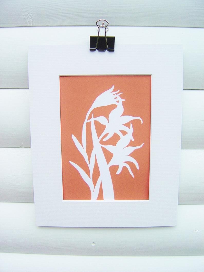 Botanical Art Print  Tangerine Orange Gladiolus   Modern image 0