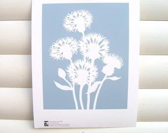Botanical Art Print Dusky Blue Cornflower - 10x8 Modern Botanical Floral Pretty Papercut Design
