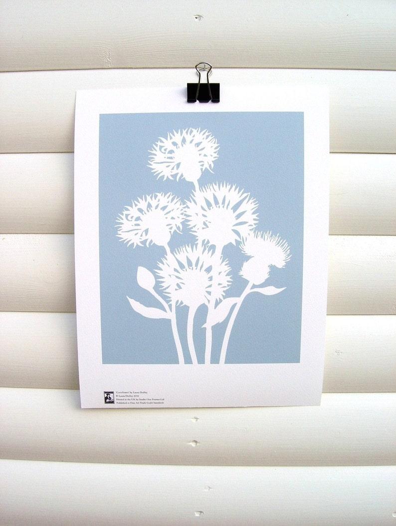 Botanical Art Print Dusky Blue Cornflower  10x8 Modern image 0