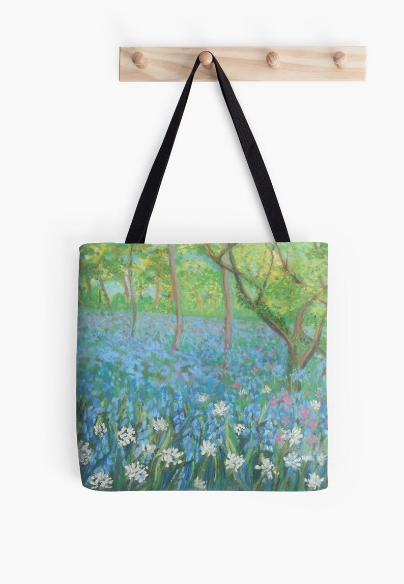 Bluebell Woods Landscape Scenery Tote Bag  Artist's image 0