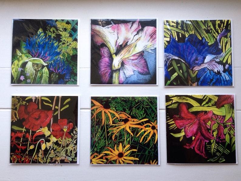 Set of Six Blank Botanical Art Cards  Flowers Floral Garden image 0