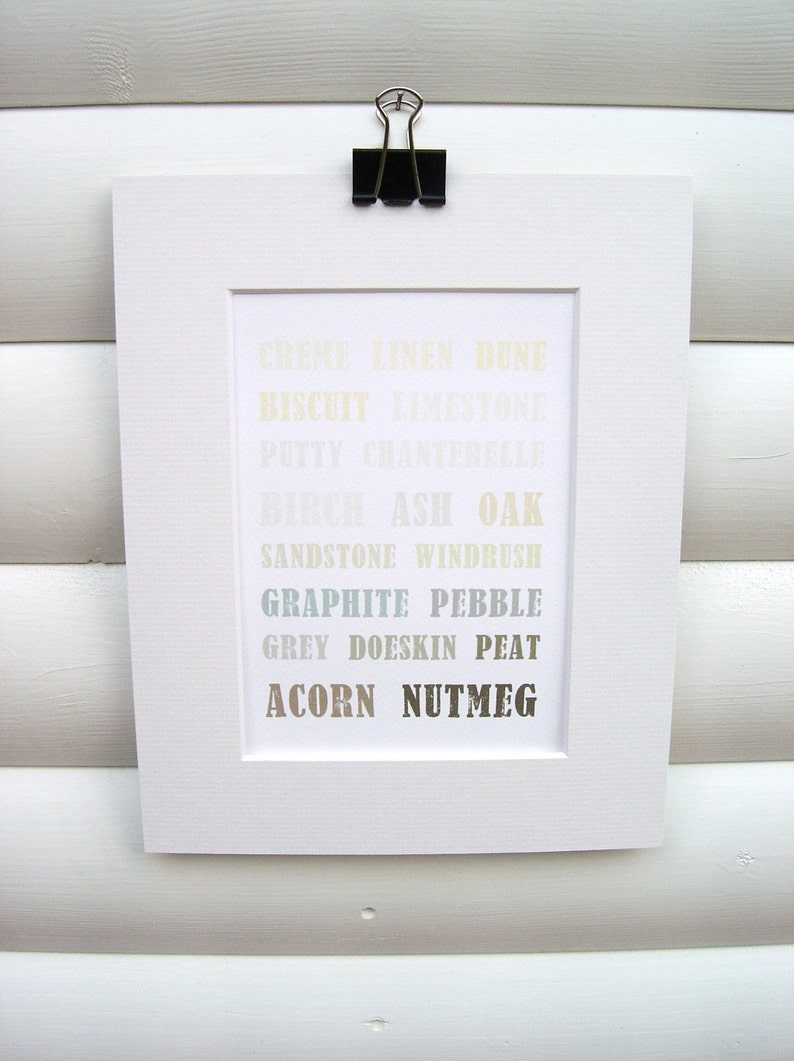 Art Print 5x7 Matted  Colourful Typography Design Natural image 0