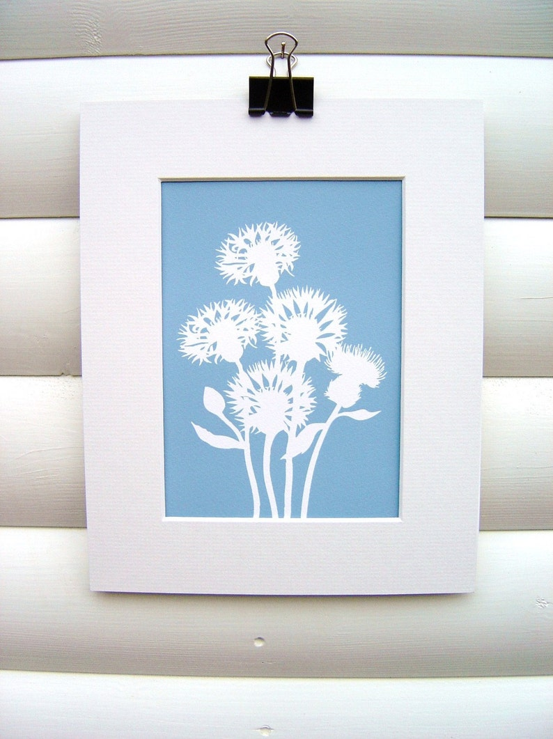 Art Print 5x7 Matted  Cornflower in Dusky Blue  Modern image 0