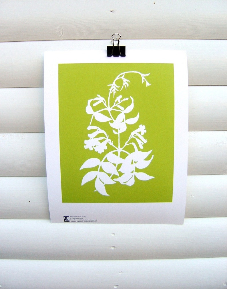 Botanical Art Print 10x8  Lime Green Bignonia  Modern image 0