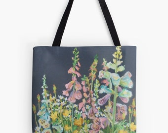 """Foxglove Garden Landscape Scenery Tote Bag - Artist's Pastel Painting Design. Two Sizes Available Medium 16"""" and Large 18"""""""