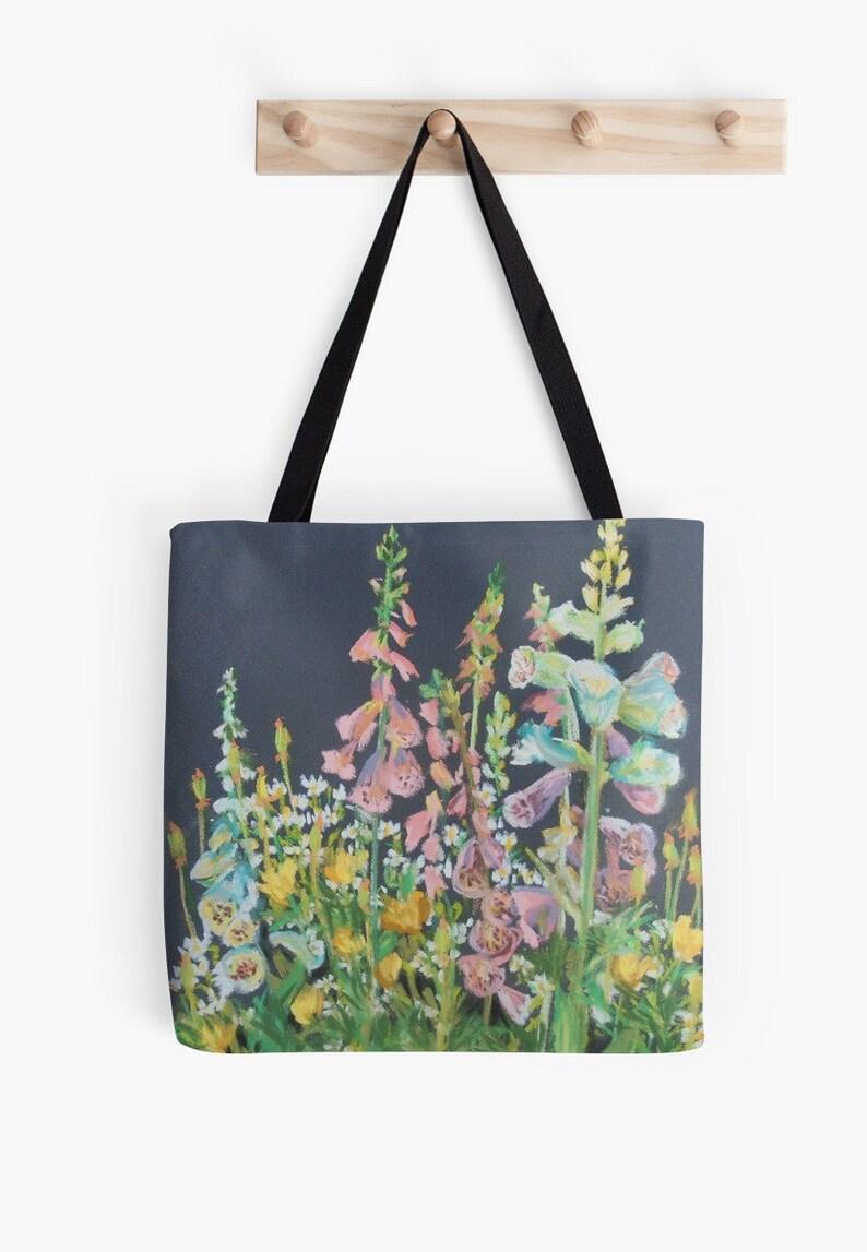 Foxglove Garden Landscape Scenery Tote Bag  Artist's image 0