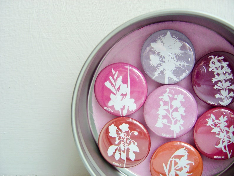 Fridge Magnets in a Tin  Set of Seven in Red Pink Purple. image 0