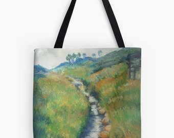 """Yorkshire Stream Landscape Scenery Tote Bag - Artist's Pastel Painting Design. Two Sizes Available Medium 16"""" and Large 18"""""""
