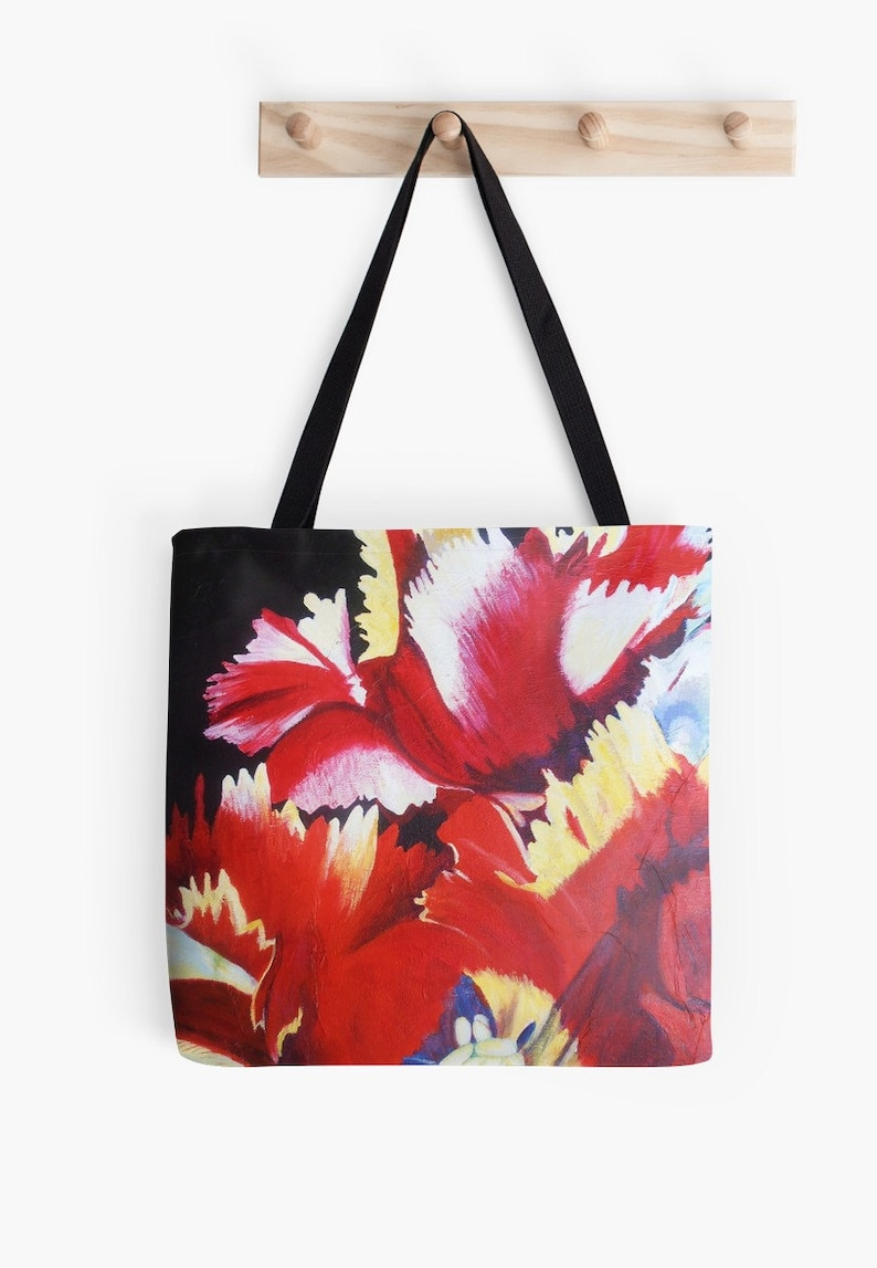 Abstract Parrot Tulip Tote Bag  Artist's Mixed Media image 0