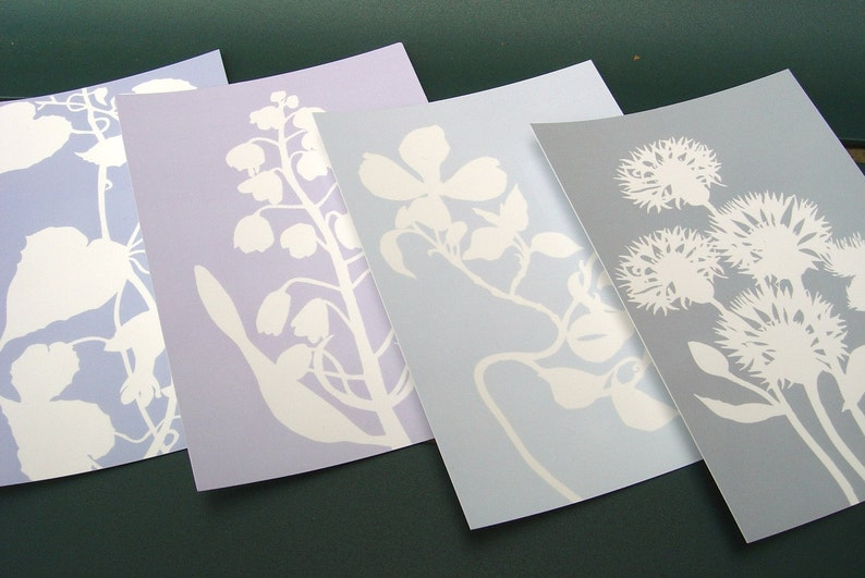 Botanical Postcards  Set of Four in Blue  Nature Inspired image 0