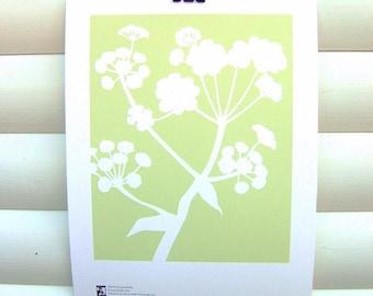 Botanical Art Print Green Meadow Ferula - 10x8 Modern Nature Floral Pretty Papercut Design