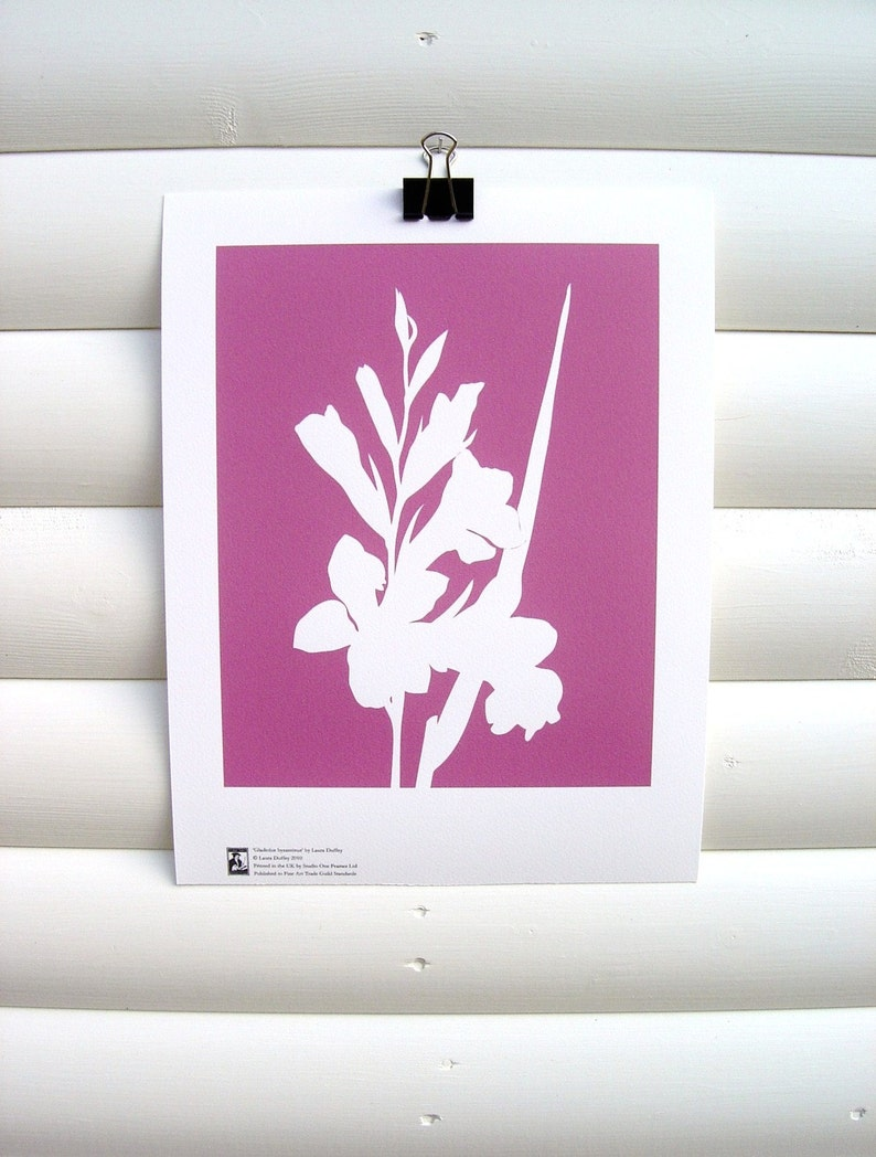 Botanical Art Print Pink Gladiolus  Modern Botanical Flower image 0