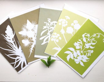 LAST SET: Botanical Cards Papercut Greetings Cards (A5) - Set of five in Green and Brown Nature Silhouette Leaf Designs