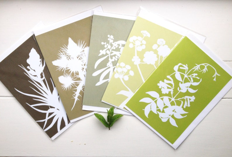 LAST SET: Botanical Cards Papercut Greetings Cards A5  Set image 0
