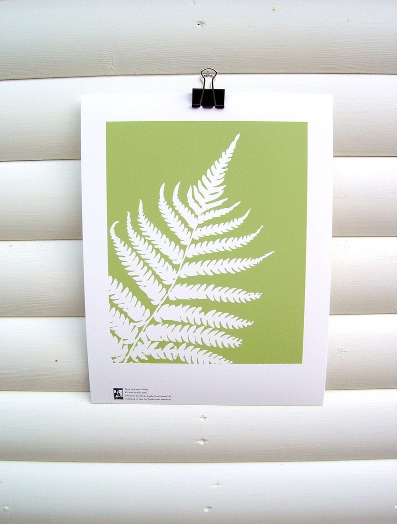 Botanical Art Print Green Fern Leaf  10 x 8 Modern Nature image 0
