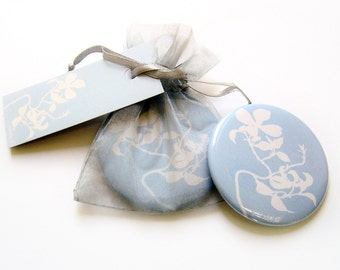 Pocket Mirror - Dogwood Blue Botanical Papercut Design