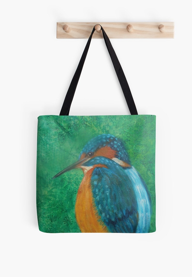 Kingfisher Tote Bag  Artist's Mixed Media Painting image 0