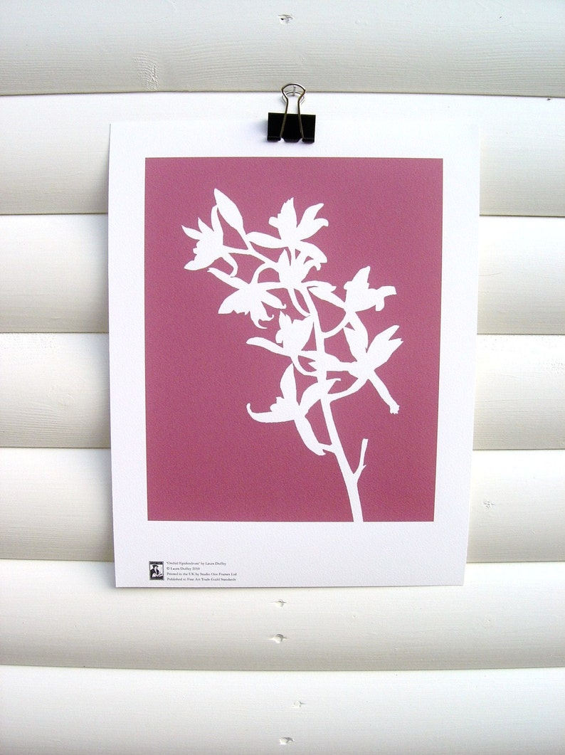 Modern Floral Art Print 10x8  Pink Orchid  Contemporary image 0
