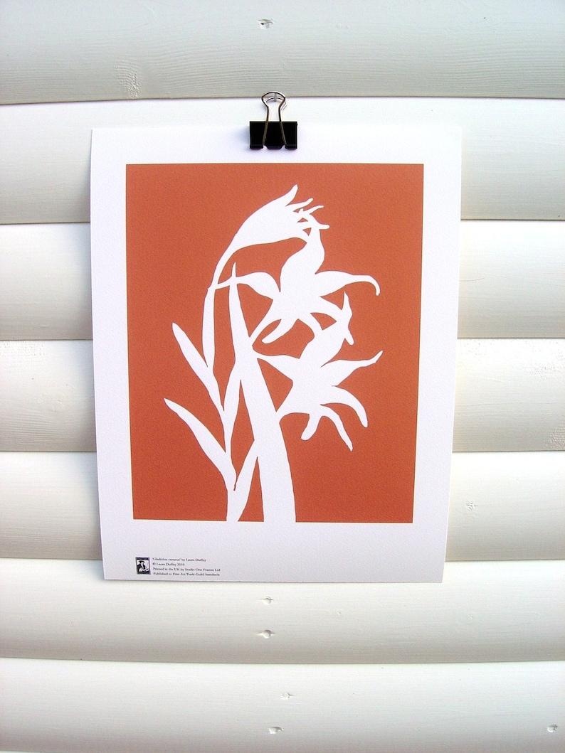 SECONDS: Art Print 10x8  Orange Gladiolus  Modern Botanical image 0