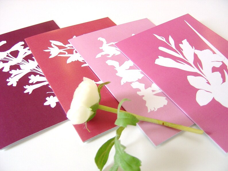 Greetings Cards Pink Purple Botanical Papercut Designs  Set image 0