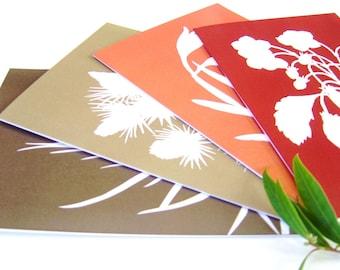 Botanical Papercut Greetings Cards (A5) - Set of Four in Tangerine Orange, Garnet Red, Brown, Autumn Fall