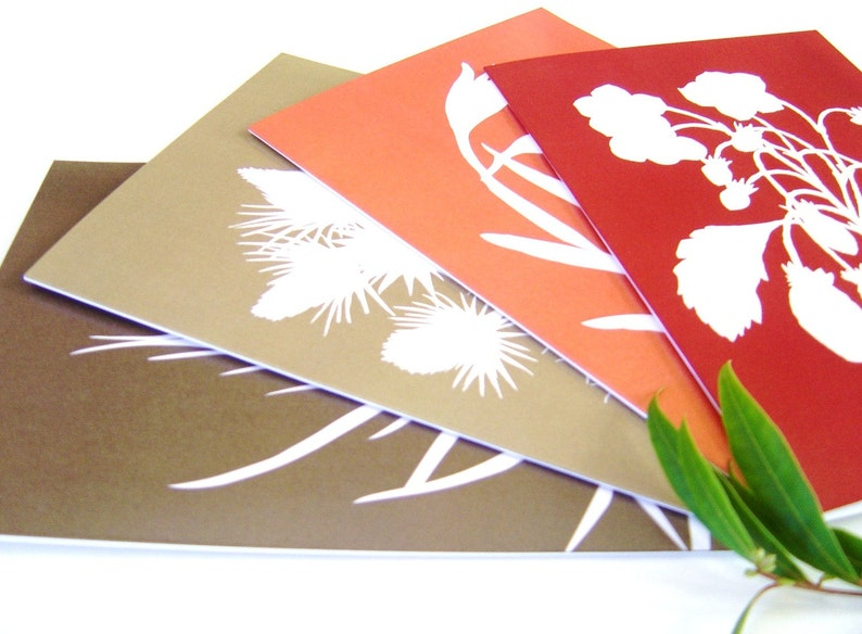 Botanical Papercut Greetings Cards A5  Set of Four in image 0