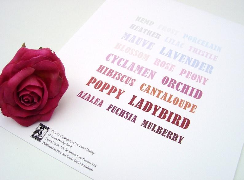 Pink Typography Art Print 5x7  Pink Red Purple Plum image 0