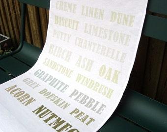Cotton Tea Towel - Grey Gray Brown - Paint Palette Typography Design