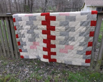 Antique Log Cabin Quilt Patchwork Wool Cotton Comforter Red Grey Blue Pink White Hand Knotted bedspresd wall art