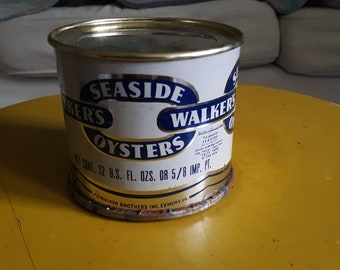 Vintage Oyster Tin JC Walker Brothers Seaside Oysters Exmore Va