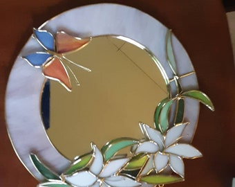 Vintage Stained Glass Mirror Art Glass