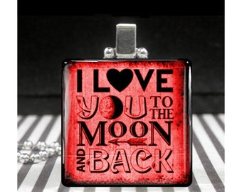 I Love You to the Moon and Back Necklace Red Valentines Day Jewelry Women Girls Sweet Sentimental Keepsake Silver Rocker Gothic Goth Gift