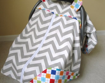 Car Seat Canopy In Premier Prints Gray Chevron With Zipper Opening