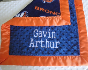 Personalized NFL Fleece and Minky Blanket, you Choose Size and Team