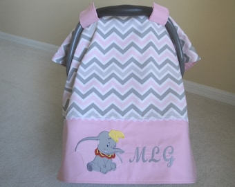Personalized Dumbo Car Seat Canopy In Premier Prints, Pink and Gray Chevron