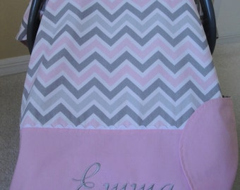 Personalized Car Seat Canopy In Premier Prints, Pink and Gray Chevron