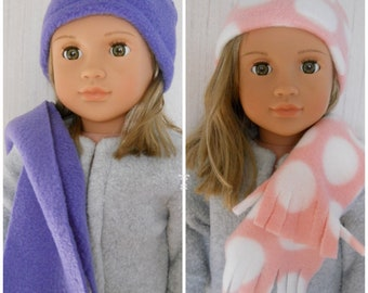 18 Doll Hat Beanie Fleece with Knit Scarf for American Girl and other 18  Dolls