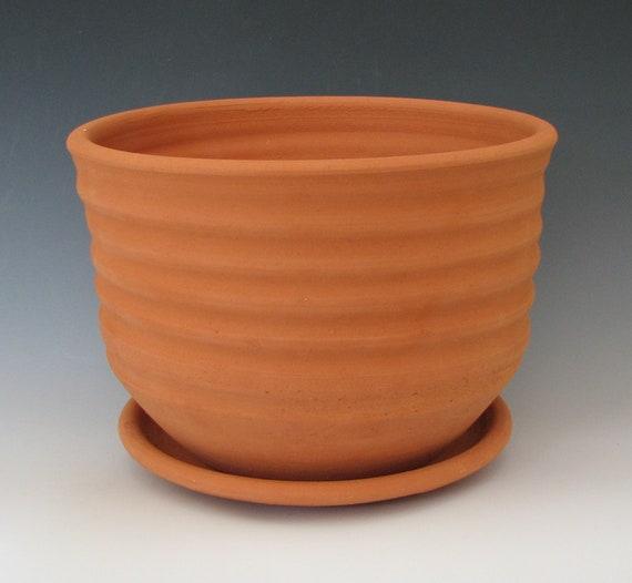 CERAMIC FLOWER POT #29 terra cotta planter clay earthenware flower pot terracotta pottery drainage flower wheel thrown porous Free Shipping