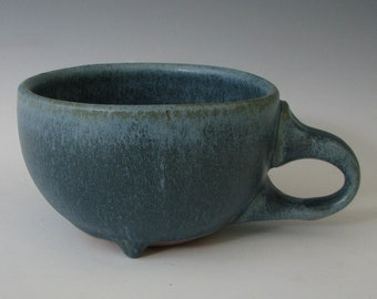STONEWARE COFFEE CUP #4 ceramic cups tea pottery cappuccino cup latte coffee cups handmade hand thrown safe glaze blue cup clay coffee lover