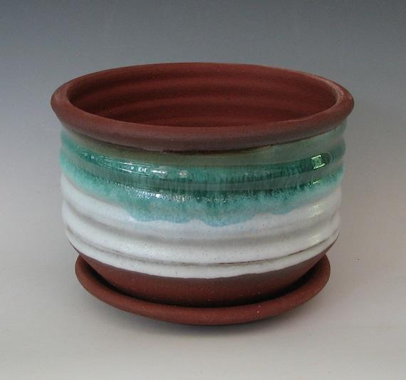 STONEWARE FLOWER POT #15 ceramic planter wheel thrown pottery handmade with drain tabletop cactus succulents bonsai blue white plant lover