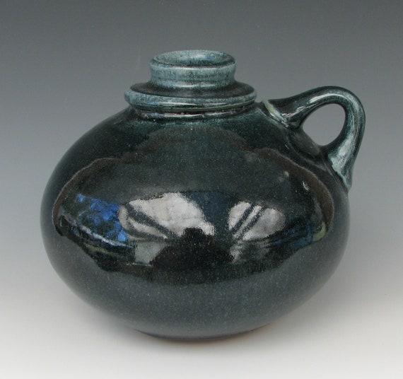 BLUE STONEWARE JUG #12 ceramic jug pottery clay handmade wheel thrown food safe free shipping centerpiece vase bottle corked table jar safe