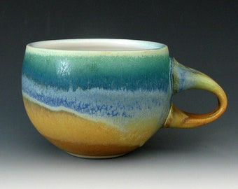 CERAMIC COFFEE CUP #8 - Stoneware Coffee Cup - Ceramic Cup - Stoneware Cup - Pottery Cup - Cappuccino Cup - Tea Cup - Cocoa Cup - Cups