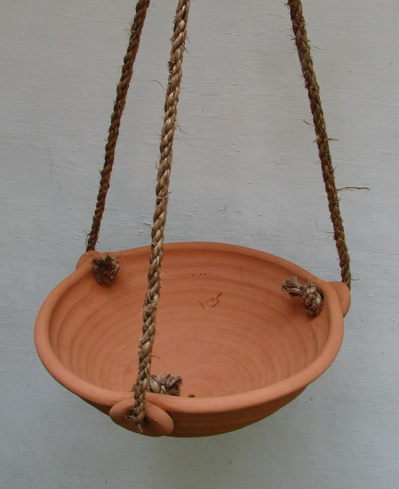TERRACOTTA HANGING PLANTER #4 ceramic flower pots clay hanging pots for plants drain hole ferns hanging flower pots hemp rope Free Shipping